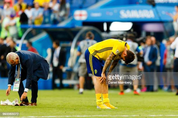 Victor Lindelof of Sweden looks dejected after the 2018 FIFA World Cup Russia Quarter Final match between Sweden and England at Samara Arena on July...