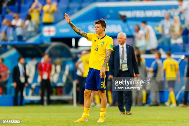 Victor Lindelof of Sweden looks dejected as he fans after the 2018 FIFA World Cup Russia Quarter Final match between Sweden and England at Samara...
