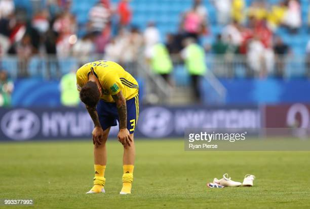 Victor Lindelof of Sweden shows his dejection following the 2018 FIFA World Cup Russia Quarter Final match between Sweden and England at Samara Arena...