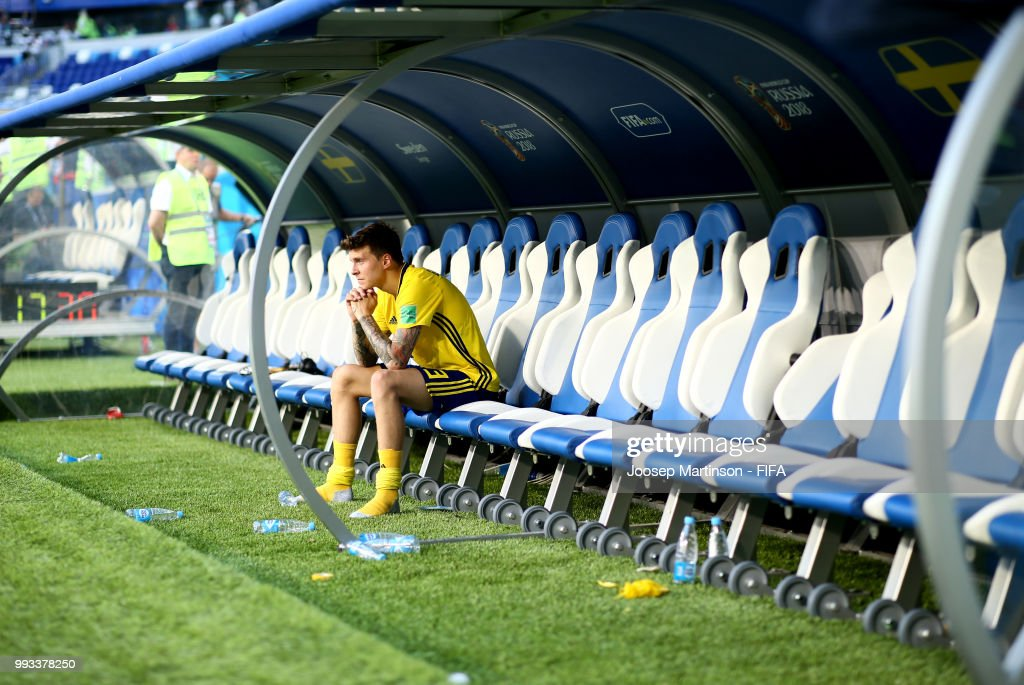 Victor Lindelof of Sweden shows his dejection following the 2018 FIFA World Cup Russia Quarter Final match between Sweden and England at Samara Arena on July 7, 2018 in Samara, Russia.