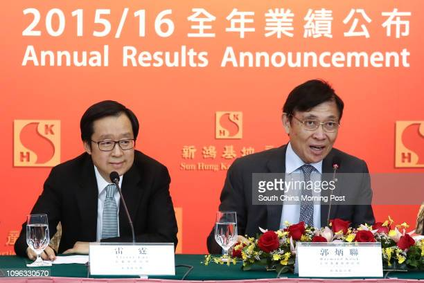 Victor Lui Ting deputy managing director and Raymond Kwok Pingluen chairman and managing director of Sun Hung Kai Properties attend 2015/16 Annual...