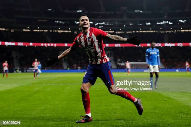 Victor Machin alias Vitolo of Atletico de Madrid celebrates scoring their third goal during the Copa del Rey second leg match between Club Atletico...