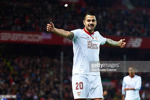 Victor Machin Perez 'Vitolo' celebrates after his shot is deflected by Ezequiel Garay of Valencia CF and scoring an own goal during the La Liga match...