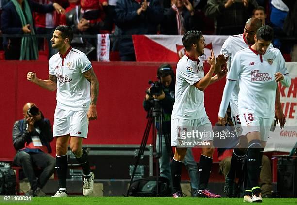 Victor Machin Perez 'Vitolo' of Sevilla FC celebrates after scoring during the match between Sevilla FC vs FC Barcelona as part of La Liga at Ramon...