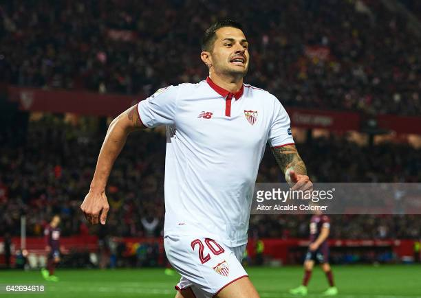 Victor Machin Perez 'Vitolo' of Sevilla FC celebrates after scoring the second goal fo Sevilla FC during the La Liga match between Sevilla FC and SD...