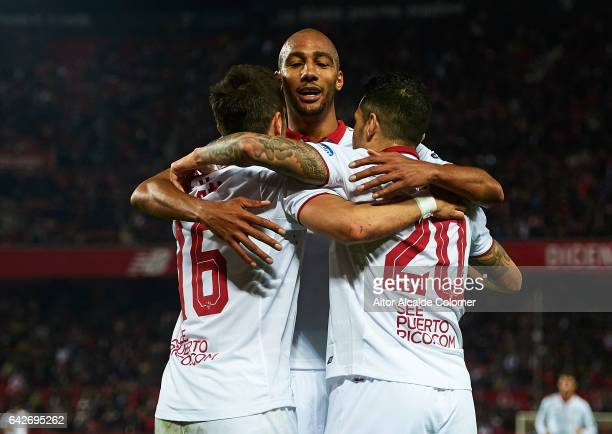 Victor Machin Perez 'Vitolo' of Sevilla FC celebrates after scoring the second goal of Sevilla FC with his team mates Stevan Jovetic and Steven...