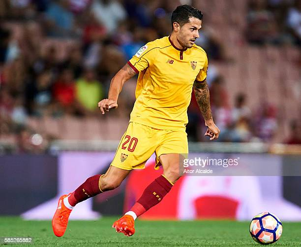 Victor Machin Perez 'Vitolo' of Sevilla FC in action during a friendly match between Granada FC and Sevilla FC at Estadio Nuevo los Carmenes on...