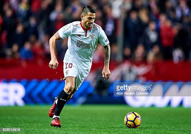 Victor Machin Perez 'Vitolo' of Sevilla FC in action during the La Liga match between Sevilla FC and Valencia CF at Estadio Ramon Sanchez Pizjuan on...