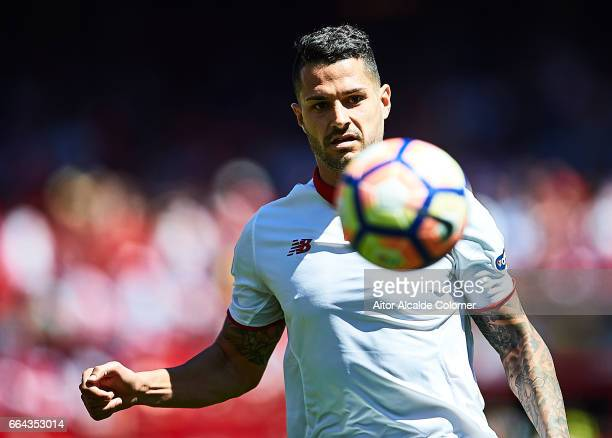 Victor Machin Perez 'Vitolo' of Sevilla FC in action during the La Liga match between Sevilla FC and Real Sporting de Gijon at Estadio Ramon Sanchez...