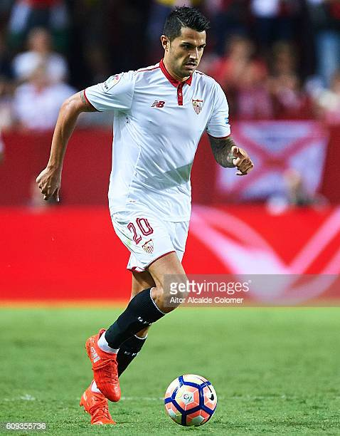 Victor Machin Perez 'Vitolo' of Sevilla FC in action during the match between Sevilla FC vs Real Betis Balompie as part of La Liga at Estadio Ramon...