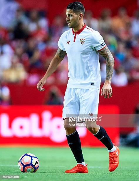 Victor Machin Perez 'Vitolo' of Sevilla FC looks on during the match between Sevilla FC vs RCD Espanyol as part of La Liga at Estadio Ramon Sanchez...