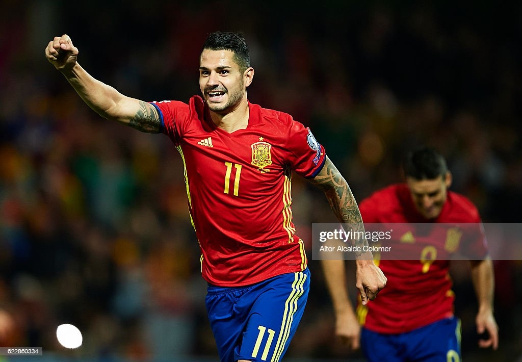 Victor Machin Perez 'Vitolo' of Spain celebrates after scoring during the FIFA 2018 World Cup Qualifier between Spain and FYR Macedonia at on November 12, 2016 in Granada, .