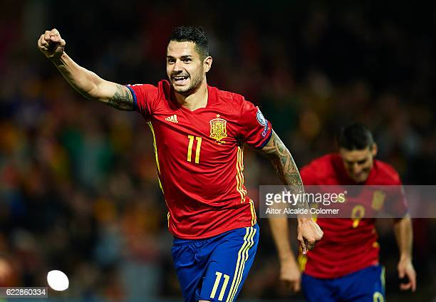 Victor Machin Perez 'Vitolo' of Spain celebrates after scoring during the FIFA 2018 World Cup Qualifier between Spain and FYR Macedonia at on...