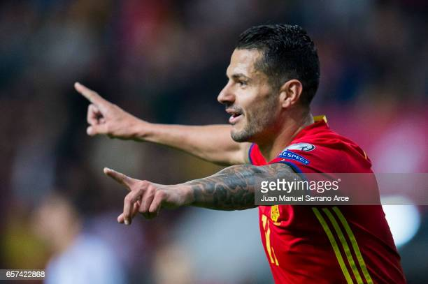 Victor Machin Perez 'Vitolo' of Spain celebrates after scoring his team's second goal during the FIFA 2018 World Cup Qualifier between Spain and...