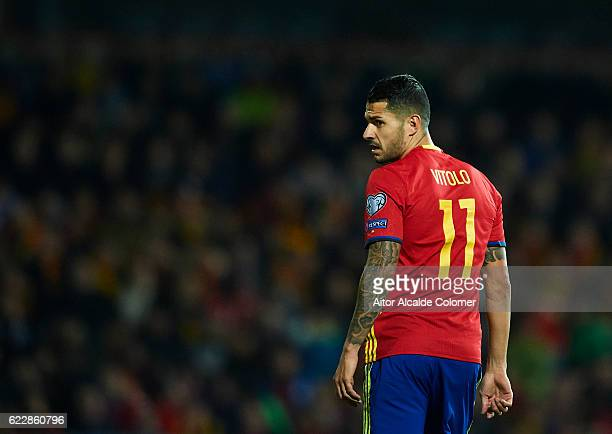 Victor Machin Perez 'Vitolo' of Spain looks on during the FIFA 2018 World Cup Qualifier between Spain and FYR Macedonia at on November 12 2016 in...