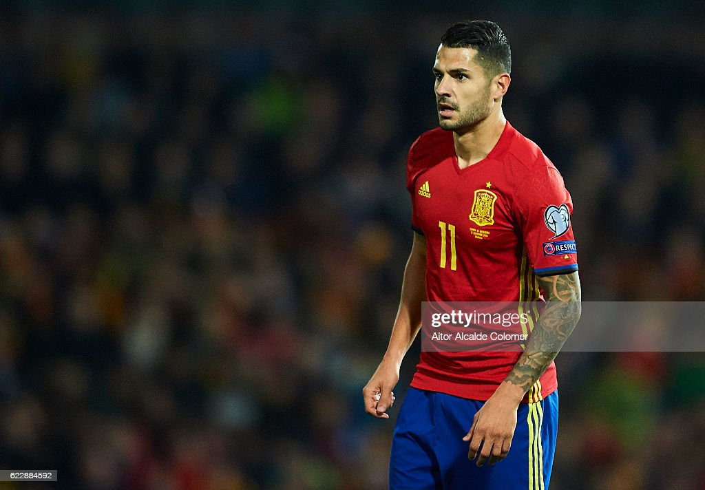 Victor Machin Perez 'Vitolo' of Spain looks on during the FIFA 2018 World Cup Qualifier between Spain and FYR Macedonia at on November 12, 2016 in Granada, .
