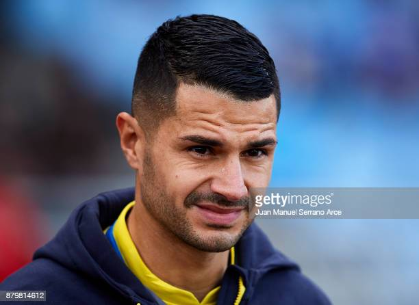 Victor Machin Perez 'Vitolo' of UD Las Palmas looks on prior to the start the La Liga match between Real Sociedad de Futbol and UD Las Palmas at...