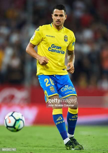 Victor Machin 'Vitolo' of Union Deportiva Las Palmas in action during the La Liga match between Sevilla and Las Palmas at Estadio Ramon Sanchez...