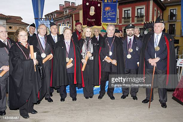 Victor Manuel and Maria Kosty are named 'Gentleman and Lady of the Order of the Sabadiego de Norena' on April 21 2012 in Asturias Spain