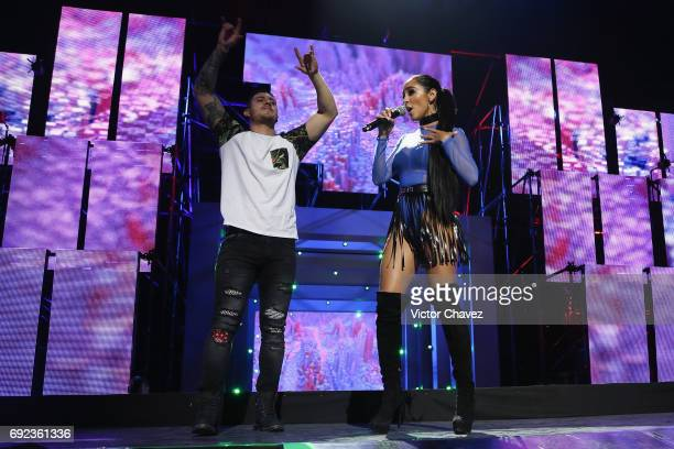 Victor Manuel Ortiz and Manelyk Gonzalez 'Mane' of Acapulco Shore speak on stage during the MTV MIAW Awards 2017 at Palacio de Los Deportes on June 3...