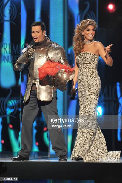 Victor Manuelle and Ana Barbara on stage at Univisions 2010 Premio Lo Nuestro a La Musica Latina Awards at American Airlines Arena on February 18...