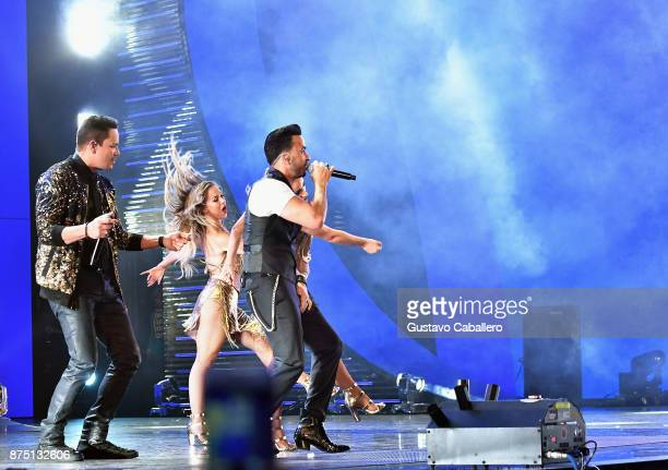 Victor Manuelle and Luis Fonsi perform onstage during The 18th Annual Latin Grammy Awards at MGM Grand Garden Arena on November 16 2017 in Las Vegas...