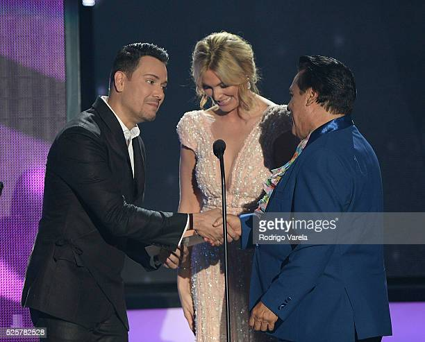 Victor Manuelle Blanca Soto and Juan Gabriel speak onstage at the Billboard Latin Music Awards at Bank United Center on April 28 2016 in Miami Florida