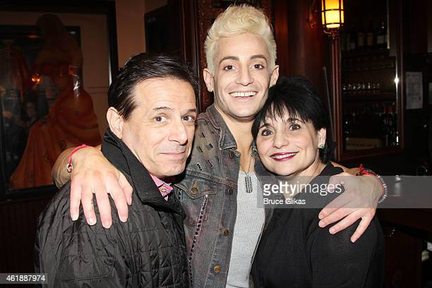 Victor Marchione son Frankie j Grande and his mother Joan Grande pose at his new show 'Livin' La Vida Grande' at 54 Below on January 20 2015 in New...