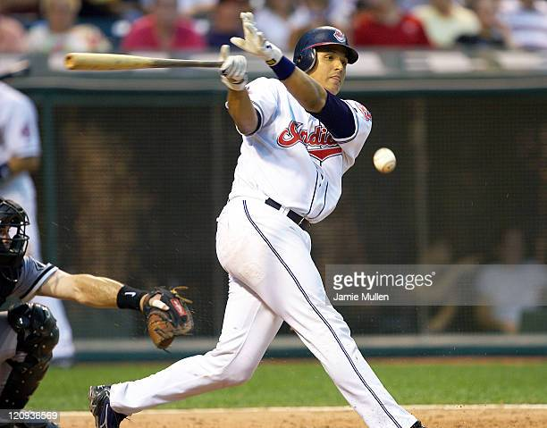 Victor Martinez of the Cleveland Indians bats against the Chicago White Sox during their game Thursday, July 22 in Cleveland. The Indians were...