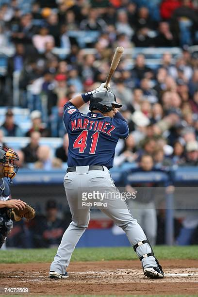 Victor Martinez of the Cleveland Indians bats during the game against the New York Yankees at the Yankee Stadium in the Bronx New York on April 19...