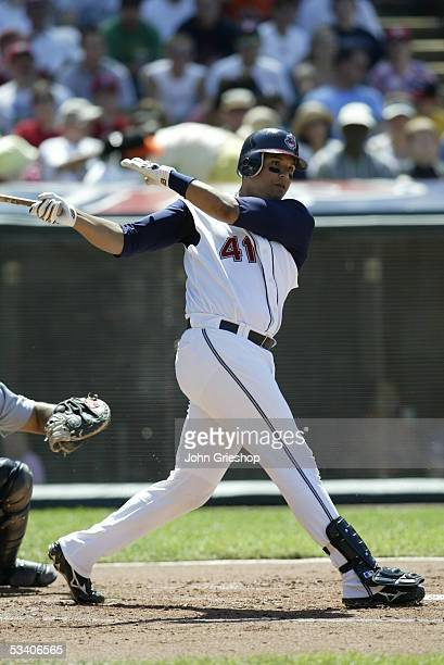 Victor Martinez of the Cleveland Indians pitches during the game against the Seattle Mariners at Jacobs Field on July 23 2005 in Cleveland Ohio The...