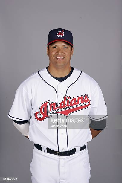 Victor Martinez of the Cleveland Indians poses during Photo Day on Saturday February 21 2009 at Goodyear Ballpark in Goodyear Arizona