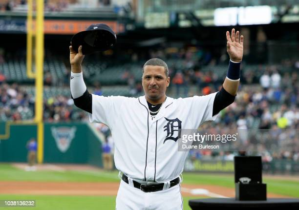 Victor Martinez of the Detroit Tigers acknowledges the fans during a pregame retirement ceremony at Comerica Park on September 22, 2018 in Detroit,...