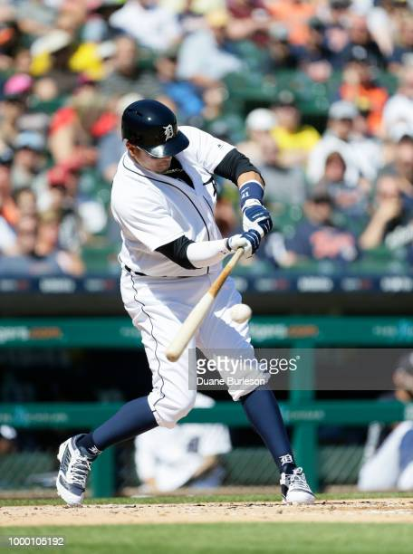 Victor Martinez of the Detroit Tigers bats against the Texas Rangers at Comerica Park on July 7 2018 in Detroit Michigan