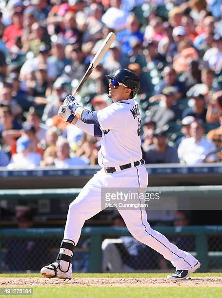 Victor Martinez of the Detroit Tigers bats during the game against the Minnesota Twins at Comerica Park on September 27 2015 in Detroit Michigan The...