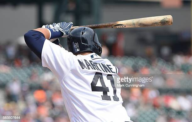 Victor Martinez of the Detroit Tigers bats during the game against the Cleveland Indians at Comerica Park on June 26 2016 in Detroit Michigan The...
