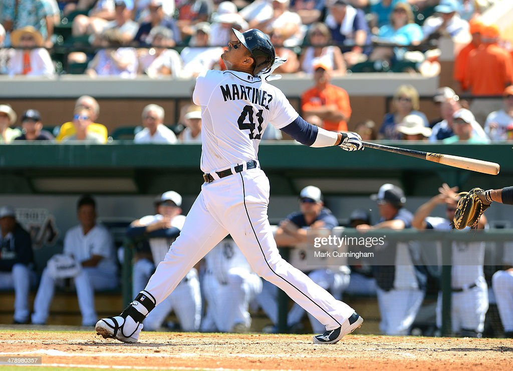 Victor Martinez #41 of the Detroit Tigers bats during the spring training game against the Houston Astros at Joker Marchant Stadium on March 15, 2014 in Lakeland, Florida. The Tigers defeated the Astros 14-3.