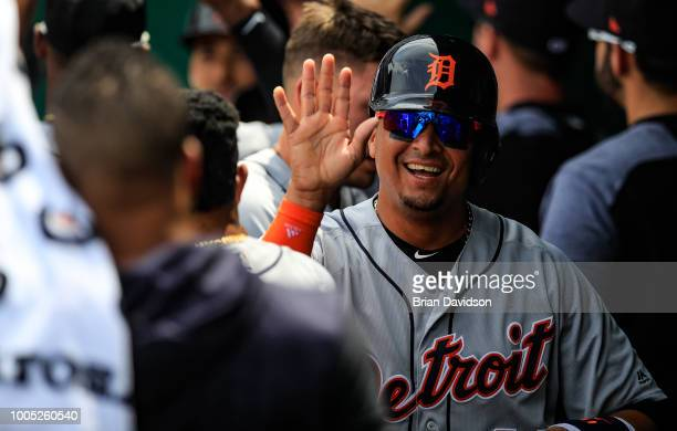 Victor Martinez of the Detroit Tigers celebrates scoring a run against the Kansas City Royals during the fourth inning at Kauffman Stadium on July 25...