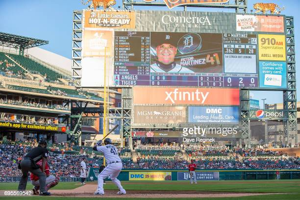 Victor Martinez of the Detroit Tigers gets set for the pitch in the third inning during a MLB game against the Los Angeles Angels of Anaheim at...