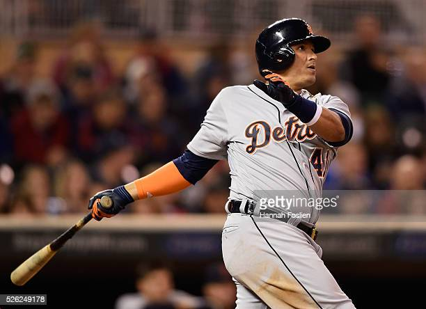 Victor Martinez of the Detroit Tigers hits a solo home run against the Minnesota Twins during the eighth inning of the game on April 29 2016 at...