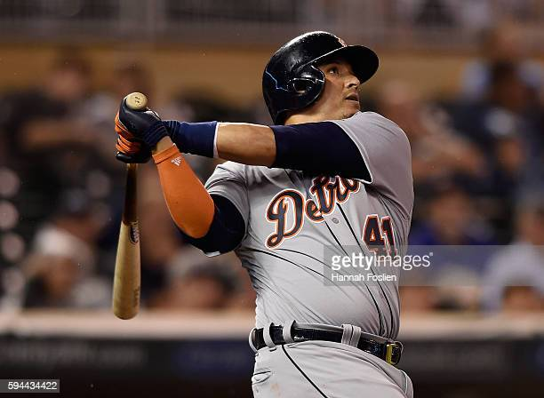 Victor Martinez of the Detroit Tigers hits a tworun home run against the Minnesota Twins during the seventh inning of the game on August 23 2016 at...
