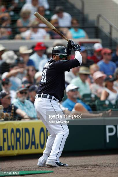 Victor Martinez of the Detroit Tigers in action during the Spring Training game against the Miami Marlins at Joker Marchant Stadium on March 02 2018...