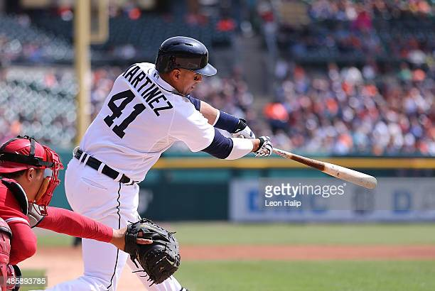 Victor Martinez of the Detroit Tigers look to the pitchers during the second inning of the game against the Los Angeles Angels of Anaheim to end the...