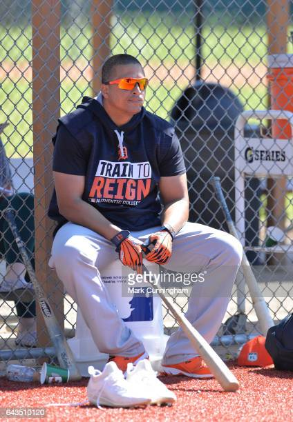 Victor Martinez of the Detroit Tigers looks on during Spring Training workouts at the TigerTown facility on February 20 2017 in Lakeland Florida