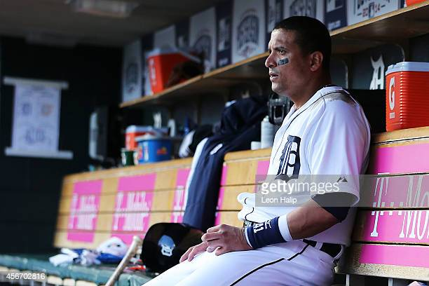 Victor Martinez of the Detroit Tigers looks on from the dugout in the sixth inning against the Baltimore Orioles during Game Three of the American...