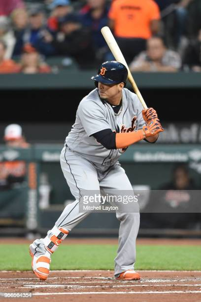 Victor Martinez of the Detroit Tigers prepares for a pitch during a baseball game against the Baltimore Orioles at Oriole Park at Camden Yards on...