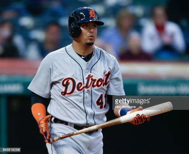 Victor Martinez of the Detroit Tigers reacts after being struck out by Starting pitcher Trevor Bauer of the Cleveland Indians during the fifth inning...
