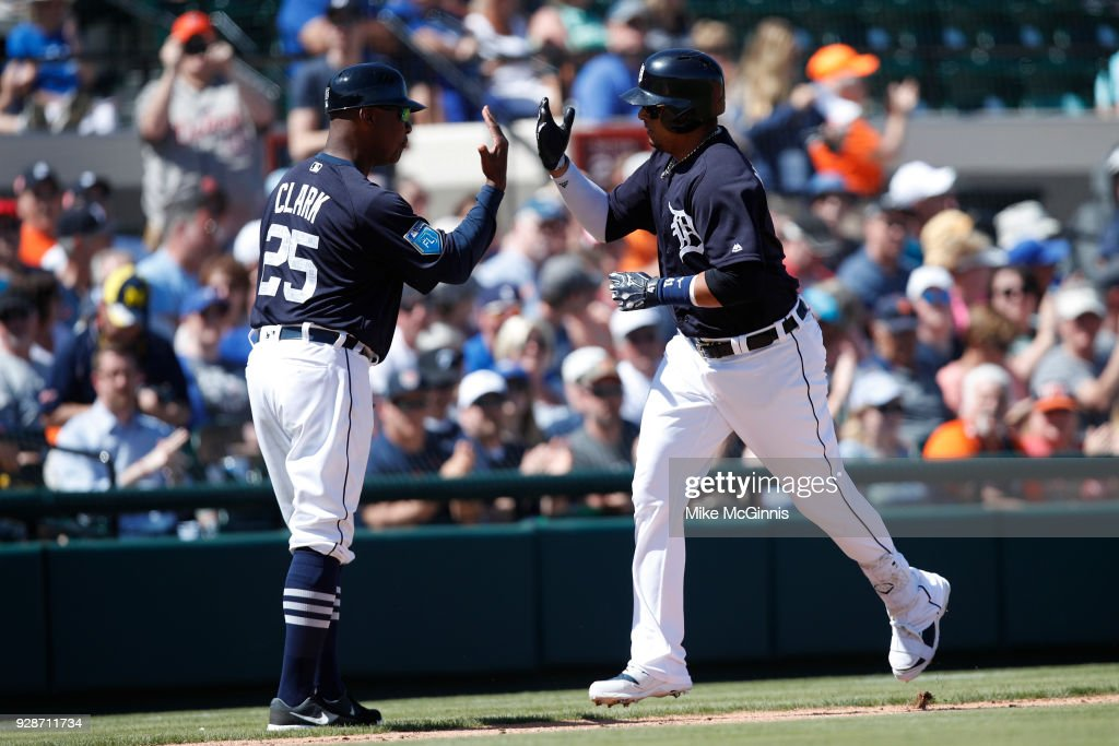 Victor Martinez #44 of the Detroit Tigers runs the bases after hitting a solo home run during the second inning of the spring training game against the Toronto Blue Jays at Joker Marchant Stadium on March 07, 2018 in Lakeland, Florida.