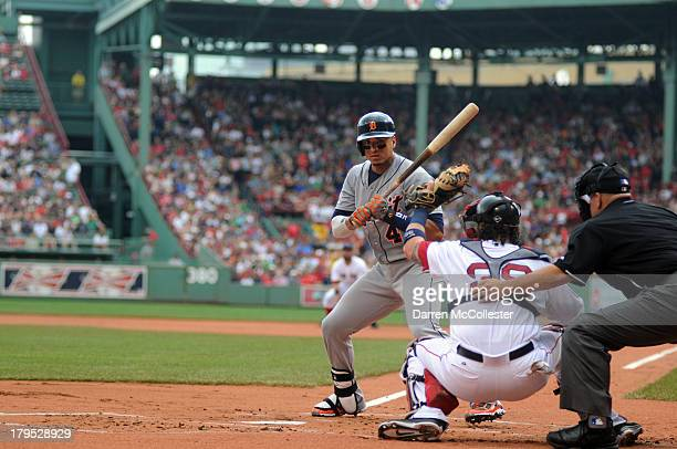 Victor Martinez of the Detroit Tigers takes a high pitch in the first inning against the Boston Red Sox at Fenway Park on September 2 2013 in Boston...