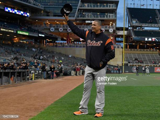 Victor Martinez of the Detroit Tigers waves as he is honored for his retirement, before the game against the Minnesota Twins on September 27, 2018 at...